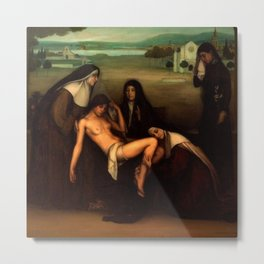 1915 Classical Masterpiece The Grace given to a fallen woman by Julio Romero de Torres Metal Print