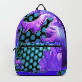 PURPLE ART NOUVEAU PURPLE IRIS ABSTRACT BLUE ART Backpack