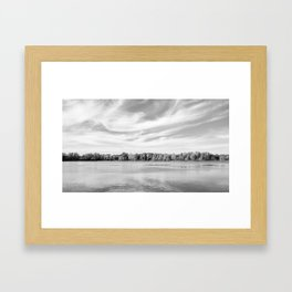 Clouds Above The Lake in Black and White Framed Art Print