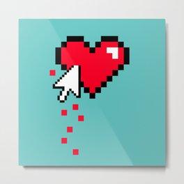 Broken 8 bits Heart Metal Print