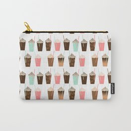 Iced Coffee - latte mocha coffee cafe summer cappuccino dessert sweet treat caramel pattern  Carry-All Pouch