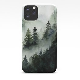 Foggy Mountains No. 2 - Misty Forest Watercolor Art Handpainted Landscape Art Wanderlust Painting iPhone Case
