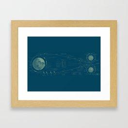 Earth-Moon Transit in Blue Framed Art Print