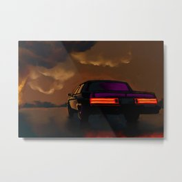 Oldsmobile with burning depot Metal Print