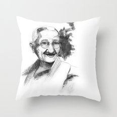 Will & Strength (Ghandi) by carographic Throw Pillow
