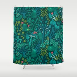 Emerald forest keepers. Magic woodland creatures. Shower Curtain