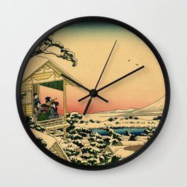 Japanese teahouse after the snow Wall Clock