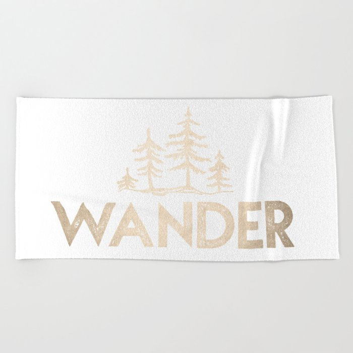 Wander Quote White Gold Beach Towel