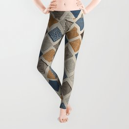 Tuscan Tiles Dark Orange and Gray Leggings