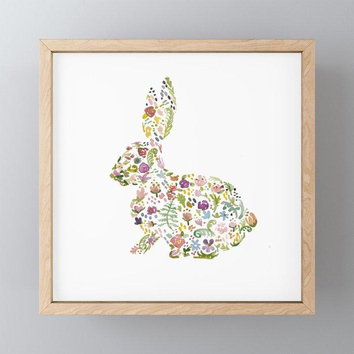 Springtime Flower Bunny Framed Mini Art Print