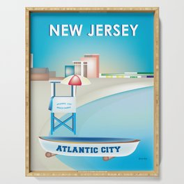 Atlantic City, New Jersey - Skyline Illustration by Loose Petals Serving Tray