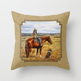 Young Cowgirl on Cattle Horse Throw Pillow