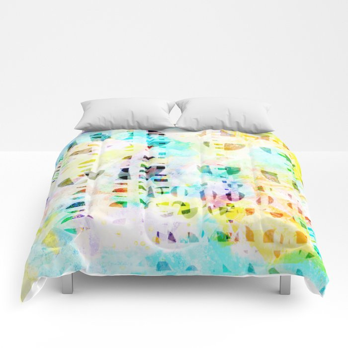 Abstract Puzzle Geos,Watercolor Geometric Painting in Colorful Pastel Comforters