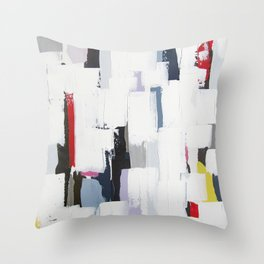 "No. 31 - Print of Original Acrylic Painting on canvas - 16"" x 20"" - (White and multi-color) Throw Pillow"