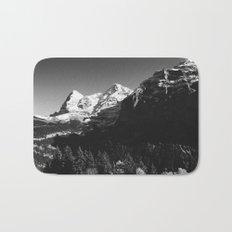 Swiss Alps Black and White Bath Mat