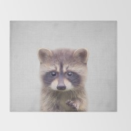 Raccoon - Colorful Throw Blanket