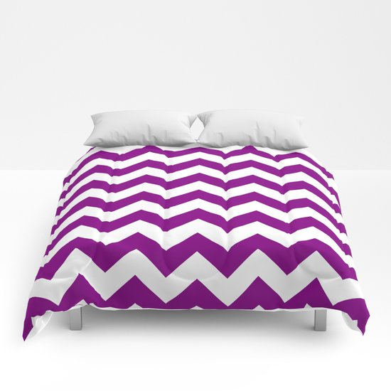 Chevron (Purple/White) Comforters