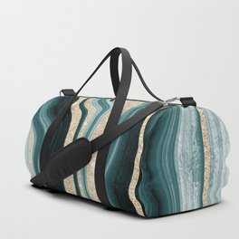 Modern agate geode turquoise champagne glitter marble pattern Duffle Bag