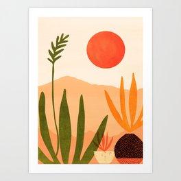 Golden California / Desert Landscape Illustration Art Print