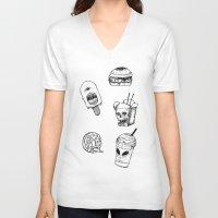 junk food V-neck T-shirts featuring Monster Food by X V I I I