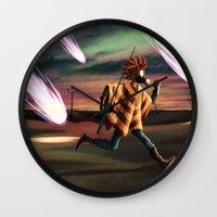 battlefield Wall Clocks featuring Air Raid in the Battlefield by Lukas Stobie