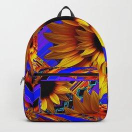 GOLDEN SUNFLOWERS BLUE AESTHETIC PATTERN Backpack