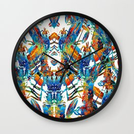 Colorful Lobster Collage Art - Sharon Cummings Wall Clock