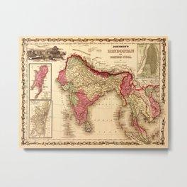 Map Of India 1867 Metal Print