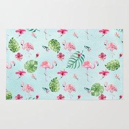 Watercolor blue green tropical floral pink flamingo Rug