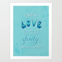 tfios Art Prints featuring TFIOS: Fell in Love by Jess Matthews Design