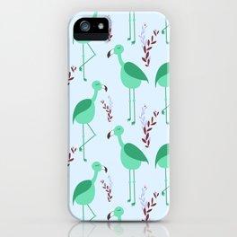 Flattering Flamingos - Green iPhone Case