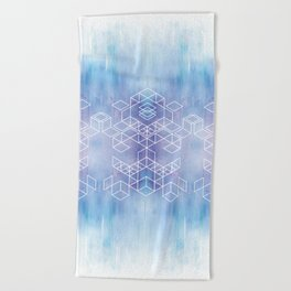 Watercolour Grid Beach Towel