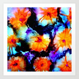 Colorful Abstract Flower Painting Orange Purple Black Art Print