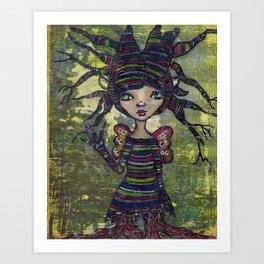 Treesa the tree fairy (Creepy Cutie Series) Art Print