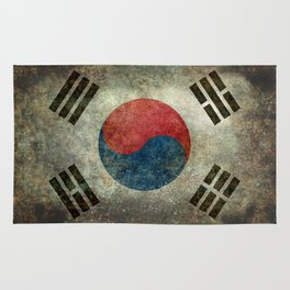 National flag of South Korea, officially the Republic of Korea, Vintage version to scale Rug