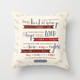 """""""Hope in the Lord"""" Hand-Lettered Bible Verse Throw Pillow"""