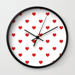 Minimal Valentines Day white and red pattern print love valentine must have romantic gifts Wall Clock