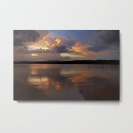 Sunset at the lake after the storm. Metal Print