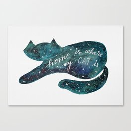 Watercolor galaxy cat – turquoise Canvas Print
