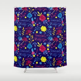 Bright Colourful Floral Feminist Killjoy Pattern Shower Curtain