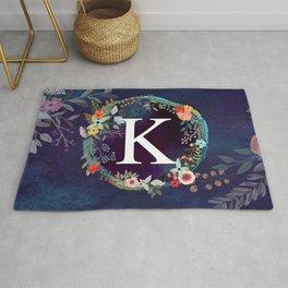 Personalized Monogram Initial Letter K Floral Wreath Artwork Rug