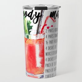 Bloody Mary - Watercolour Recipe - Typography Art - Cocktail Print Travel Mug