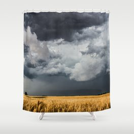 Cotton Candy - Storm Clouds Over Wheat Field in Kansas Shower Curtain