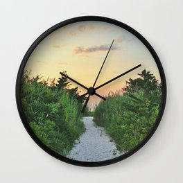 beach path sunset Wall Clock