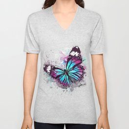 Beautiful Butterfly Artwork Unisex V-Neck