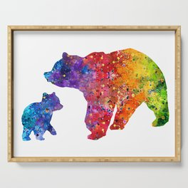 Mother Bear and Cub Art Colorful Watercolor Art Gift Mothers Art Kids Gift Animals Art Widlife Art Serving Tray