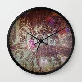 Holy Bible With Hearts & Bokeh Wall Clock
