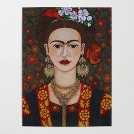Frida with butterflies Poster