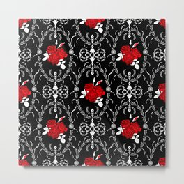 Retro . Red roses on black Metal Print