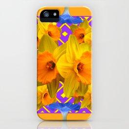 Golden Daffodils Blue Morning Glories Garden Pattern iPhone Case